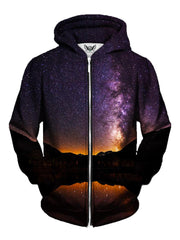 Men's black mountain with purple galaxy zip-up hoodie front view.