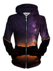Front view of women's mountain galaxy zip up hoody by Gratefully Dyed Apparel.