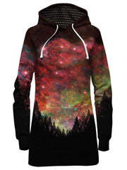 Bright Red Galaxy Hoodie Dress Front View