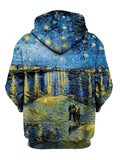 Back view of all over print psychedelic impressionism hoody by Gratefully Dyed Apparel.