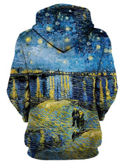 Rear of women's blue & yellow Van Gogh inspired all over print hoody.