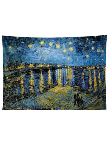 Horizontal hanging view of all over print blue & yellow starry water Van Gogh inspired tapestry by GratefullyDyed Apparel.