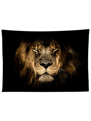 Horizontal hanging view of all over print broen & black lion tapestry by GratefullyDyed Apparel.