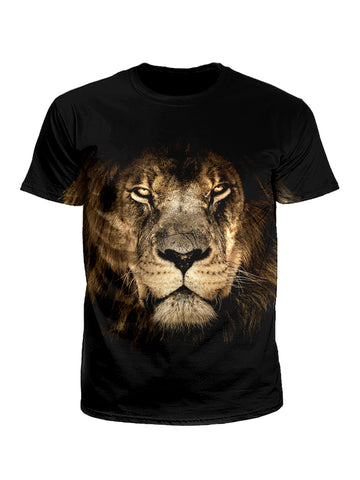 Men's black & brown lion unisex t-shirt front view.