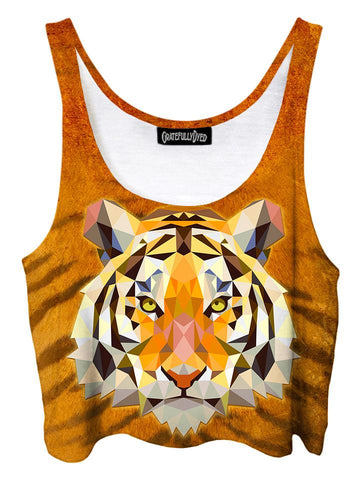Trippy front view of GratefullyDyed Apparel orange, black & white geometric tiger crop top.