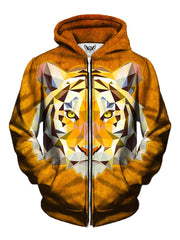 Men's orange geometric tiger zip-up hoodie front view.