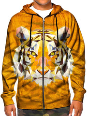 Model wearing GratefullyDyed Apparel trippy geometric tiger zip-up hoodie.