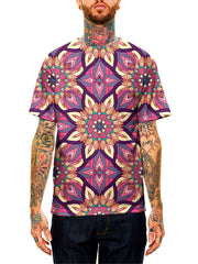 Model wearing GratefullyDyed Apparel pink, purple, yellow & orange mandala unisex t-shirt.