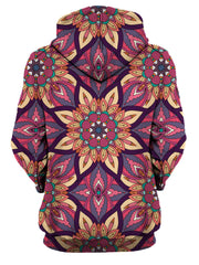 Rear of women's pink, purple, yellow & teal retro flower mandala hoody.