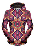 Women's front view of trippy flower mandala pullover hoodie.