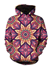 Men's pink, yellow, purple & teal retro flower mandala pullover hoodie front view.