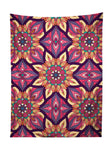 Vertical hanging view of all over print pink, purple, orange & yellow flower mandala tapestry by GratefullyDyed Apparel.