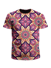 Men's pink, yellow & orange mandala unisex t-shirt front view.