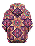 Rear of pink, yellow & purple flower mandala zip-up hoody.