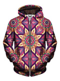 Men's pink, yellow & purple flower mandala zip-up hoodie front view.