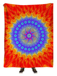 Hanging view of all over print blue & orange mandala blanket by GratefullyDyed Apparel.