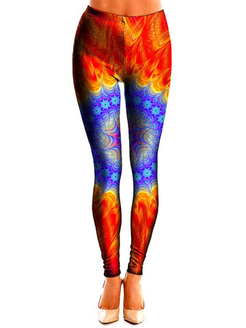 Leg model wearing GratefullyDyed Apparel orange & blue mandala leggings front view.