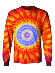 Gratefully Dyed Apparel blue & orange mandala unisex long sleeve front view.