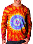Front view of model wearing Gratefully Dyed Apparel mandala unisex long sleeve.