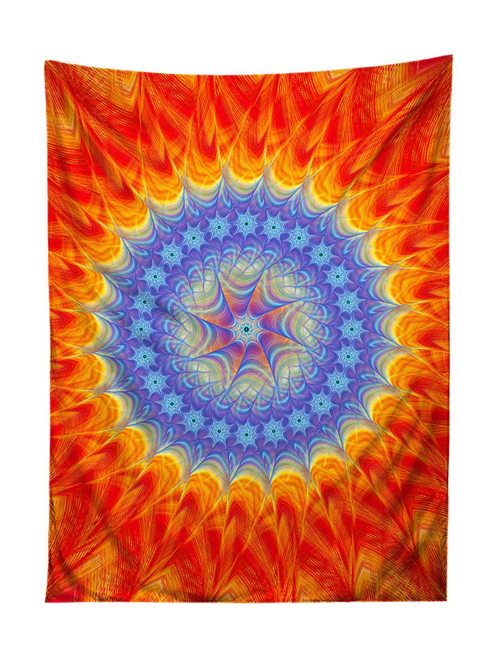 Vertical hanging view of all over print blue & orange mandala tapestry by GratefullyDyed Apparel.