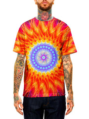 Model wearing GratefullyDyed Apparel orange & blue psychedelic mandala unisex t-shirt.