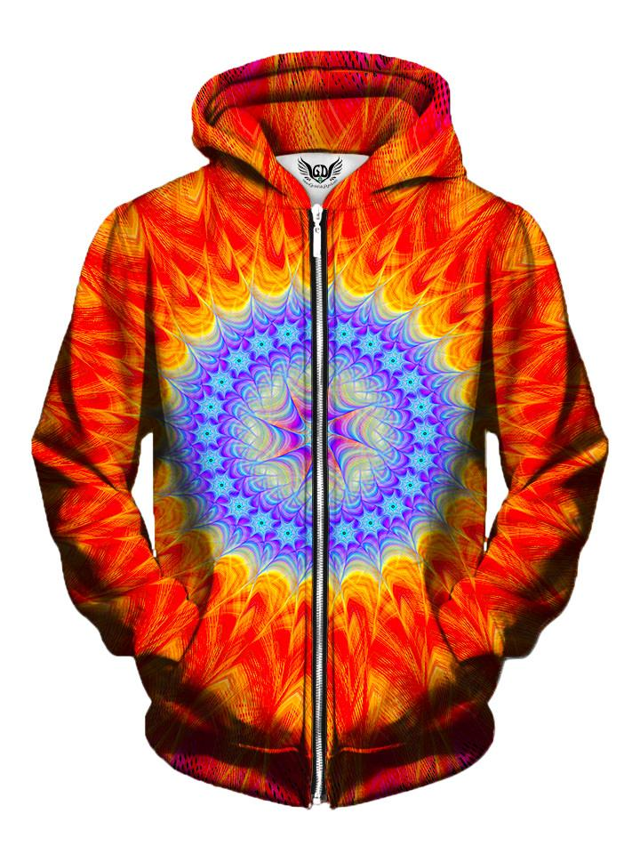 Men's red & blue mandala zip-up hoodie front view.