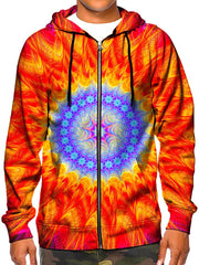 Model wearing GratefullyDyed Apparel psychedelic red & blue mandala hoodie.