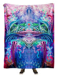 Hanging view of all over print pink, green & blue abstract visionary art blanket by GratefullyDyed Apparel.