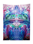 Vertical hanging view of all over print pink, blue & green abstract visionary art tapestry by GratefullyDyed Apparel.