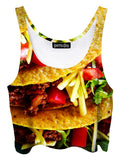 Trippy front view of GratefullyDyed Apparel crunchy tacos crop top.