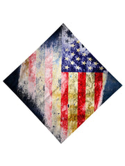 Trippy Gratefully Dyed Apparel red, white & blue rustic american flag bandana flat view.