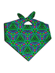 All over print green, purple & pink geometric fractal bandana by GratefullyDyed Apparel tied neck scarf view.