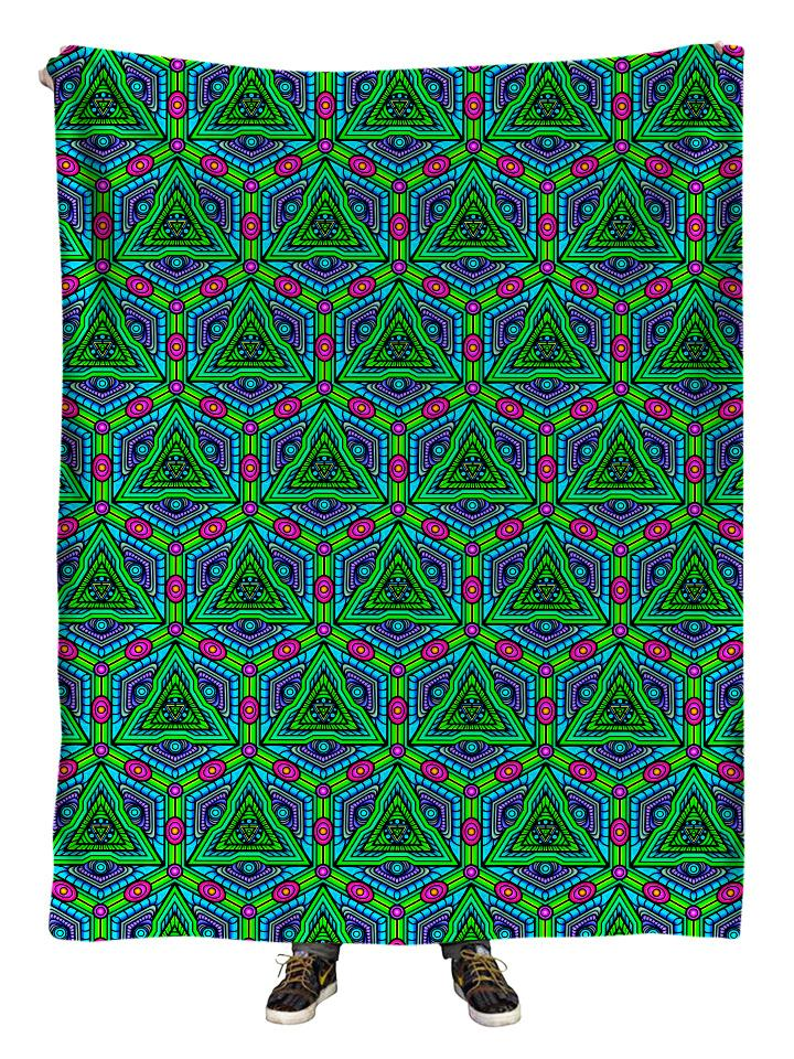 Hanging view of all over print green, blue & pink sacred Geometry blanket by GratefullyDyed Apparel.