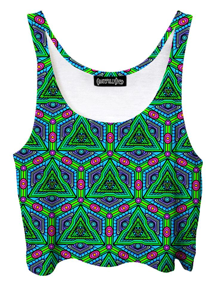 Trippy front view of GratefullyDyed Apparel green, purple & pink sacred geometry mandala crop top.