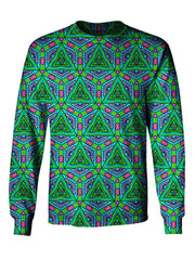 Gratefully Dyed Apparel green, blue, purple & pink fractal unisex long sleeve front view.