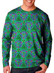 Front view of model wearing Gratefully Dyed Apparel fractal unisex long sleeve.