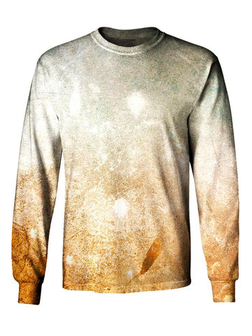 Gratefully Dyed Apparel cream & orange pastel desert galaxy unisex long sleeve front view.