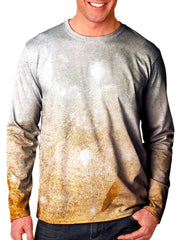 Front view of model wearing Gratefully Dyed Apparel pastel desert galaxy unisex long sleeve.