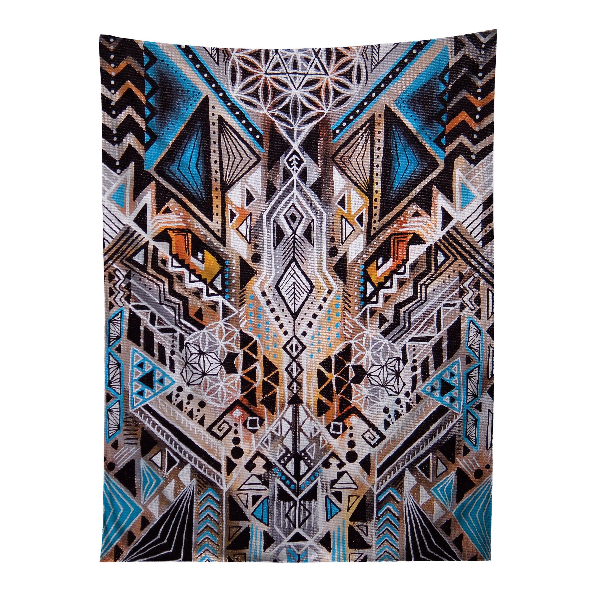 Vertical hanging view of all over print blue, orange & white tribal sacred geometry tapestry by GratefullyDyed Apparel.