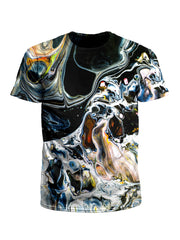 Men's black, white & rainbow marbling unisex t-shirt front view.