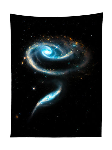 Vertical hanging view of all over print black & blue spiral galaxy tapestry by GratefullyDyed Apparel.