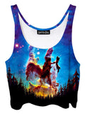 Trippy front view of GratefullyDyed Apparel blue, black & rainbow nebula forest galaxy crop top.
