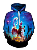 Men's black forest with blue galaxy & rainbow nebula pullover hoodie front view.