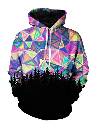 Men's purple & rainbow geometric sky treeline pullover hoodie front view.