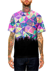 Model wearing GratefullyDyed Apparel rainbow geometric forest unisex t-shirt.