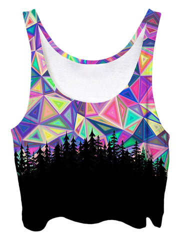 Trippy front view of GratefullyDyed Apparel rainbow geometry forest crop top.