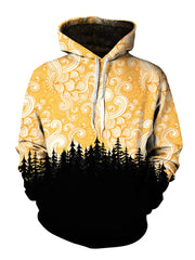 Men's yellow & black swirl sky forest pullover hoodie front view.