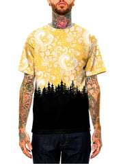 Model wearing GratefullyDyed Apparel black & yellow cloud swirl forest unisex t-shirt.