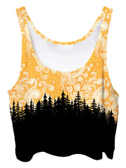 Trippy front view of GratefullyDyed Apparel yellow cloud swirl forest crop top.