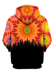 Back view of all over print psychedelic nature hoody by Gratefully Dyed Apparel.
